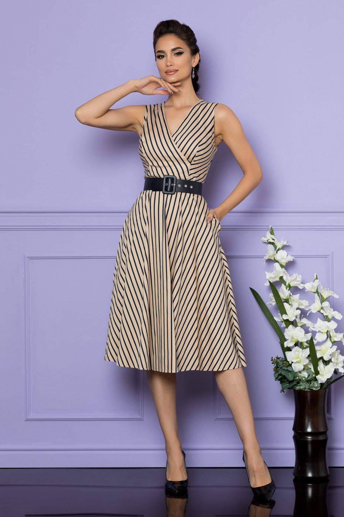 Μπεζ Αμάνικο Ριγέ Φόρεμα Eralya A674 1