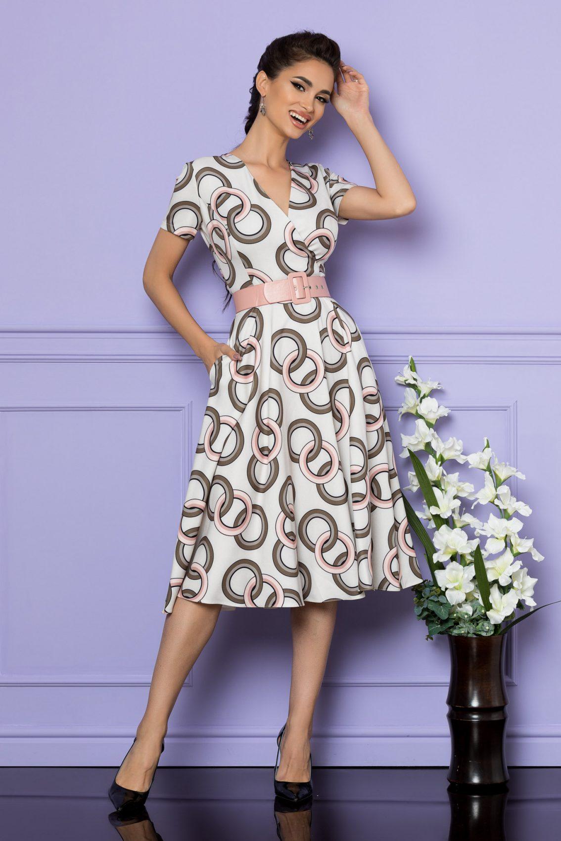 Ιβουάρ Μίντι Φόρεμα Με Ροζ Ζώνη Penny A677 1