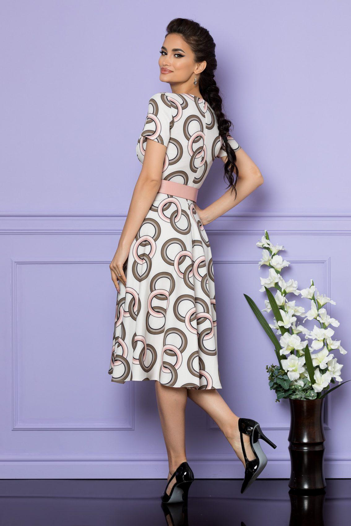 Ιβουάρ Μίντι Φόρεμα Με Ροζ Ζώνη Penny A677 2