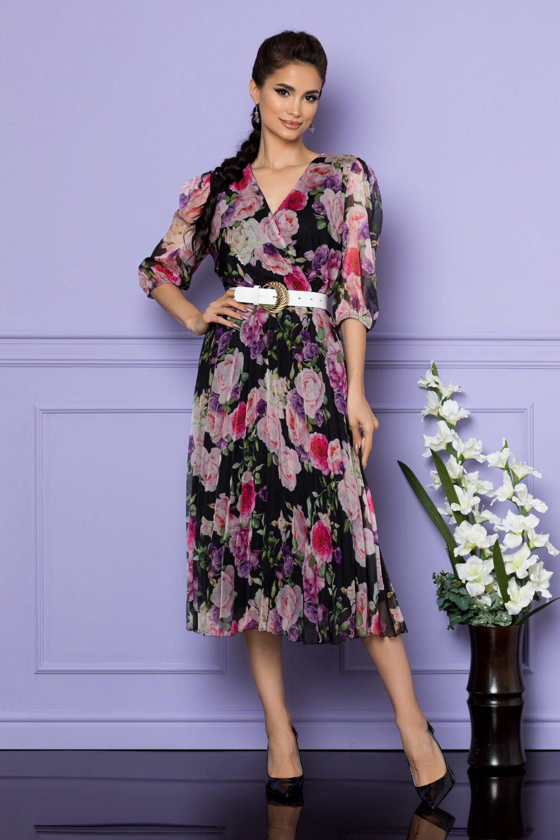 Μαύρο Φλοράλ Μίντι Κοντομάνικο Φόρεμα Cryna A735 1