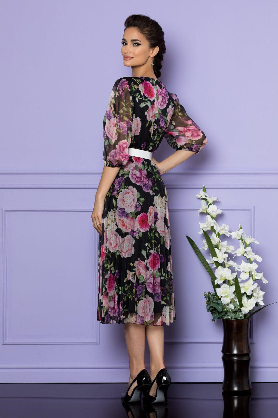 Μαύρο Φλοράλ Μίντι Κοντομάνικο Φόρεμα Cryna A735 2