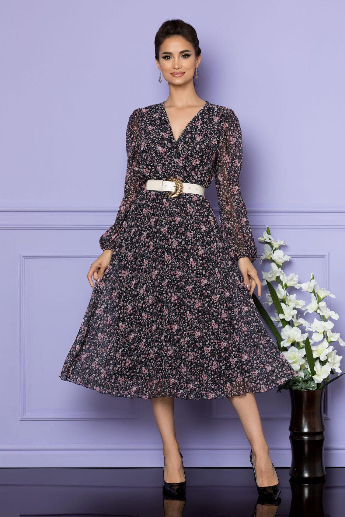 Μίντι Φλοράλ Κρουαζέ Μαύρο Φόρεμα Ingrid A689 1