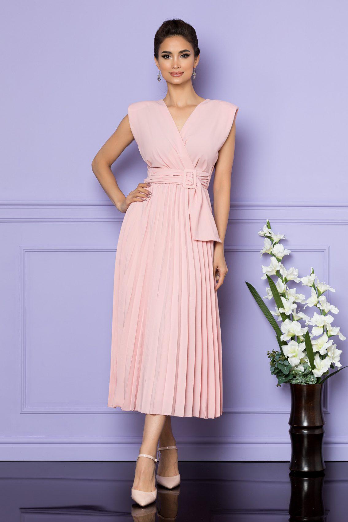 Ροζ Αμάνικο Μίντι Κρουαζέ Φόρεμα Carmen A679 1