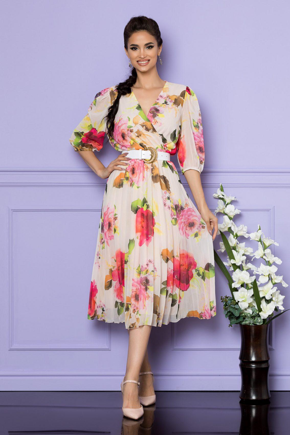 Ροζ Φλοράλ Μίντι Κοντομάνικο Φόρεμα Cryna A734 1