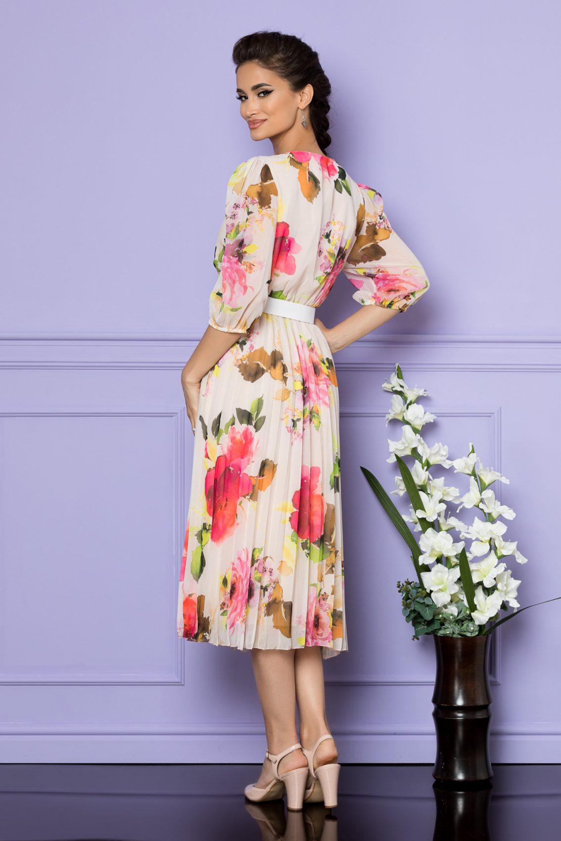Ροζ Φλοράλ Μίντι Κοντομάνικο Φόρεμα Cryna A734 2