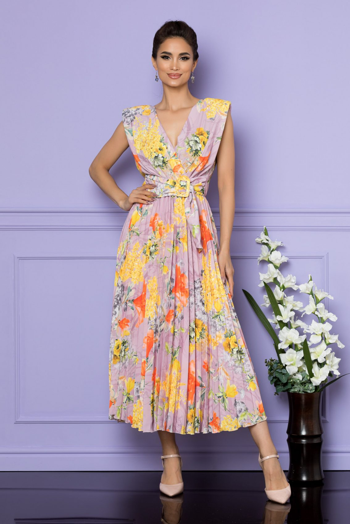 Κίτρινο Αμάνικο Μίντι Εμπριμέ Φόρεμα Carmen A684 1