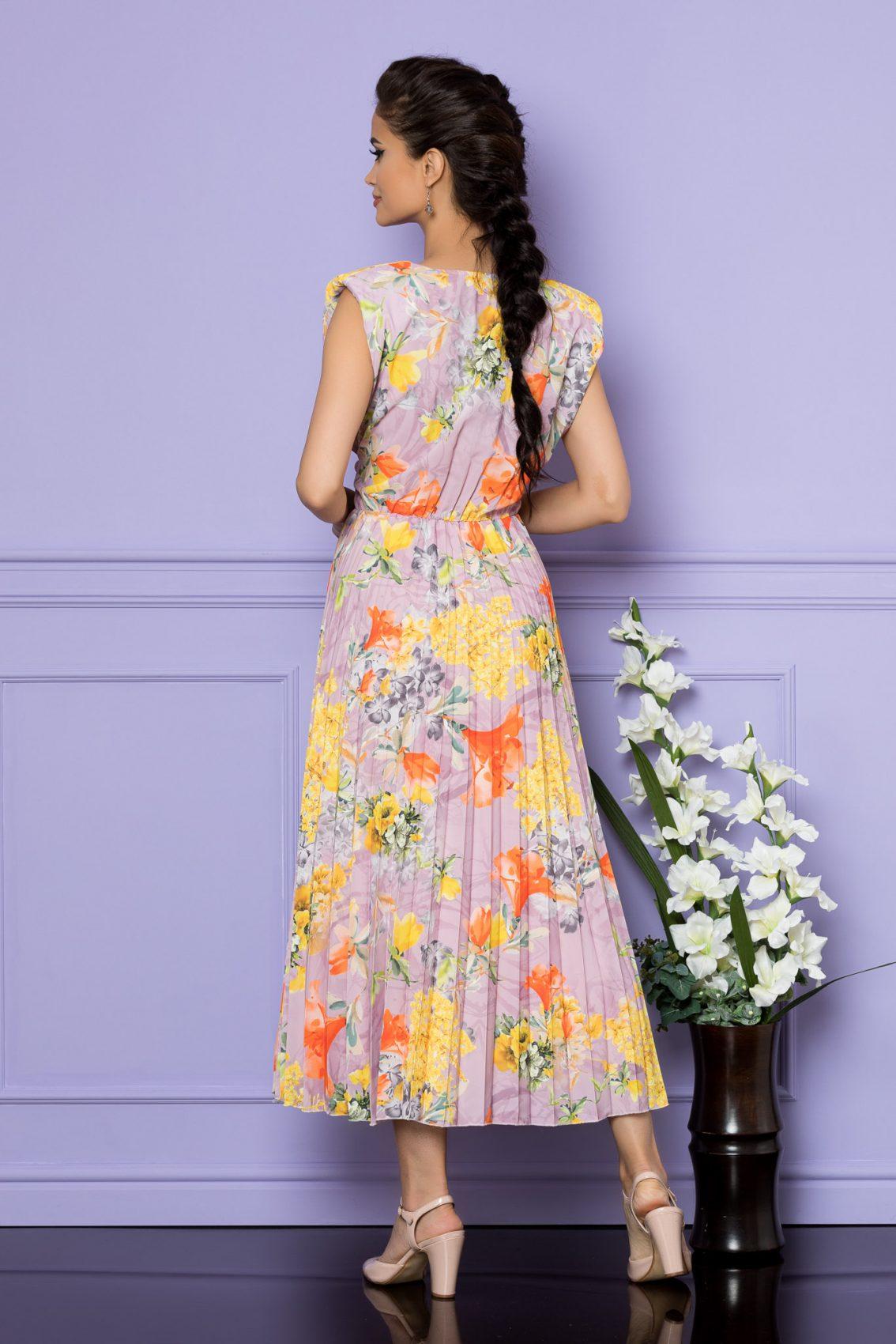 Κίτρινο Αμάνικο Μίντι Εμπριμέ Φόρεμα Carmen A684 2
