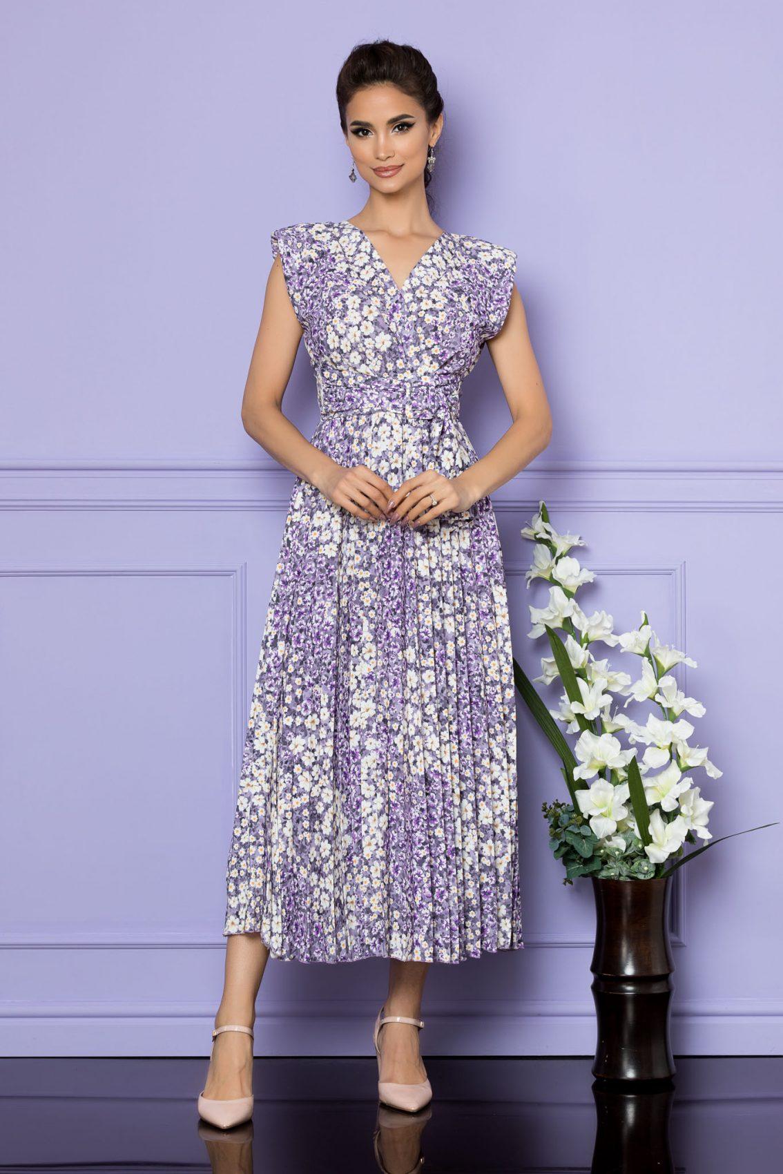 Λιλά Αμάνικο Μίντι Κρουαζέ Φόρεμα Carmen A682 1