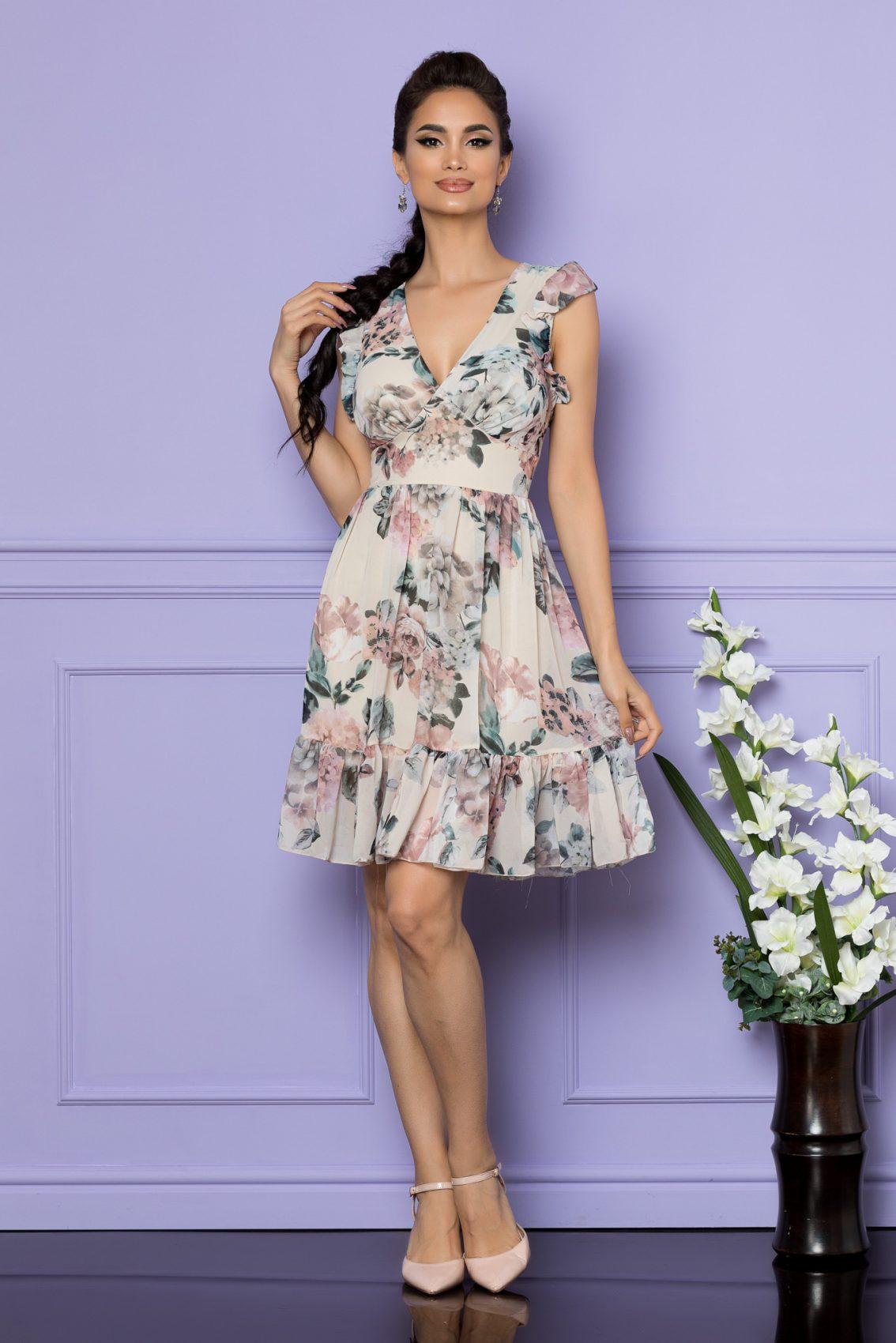 Nude Αμάνικο Φόρεμα Με Βολάν Elody A759 1