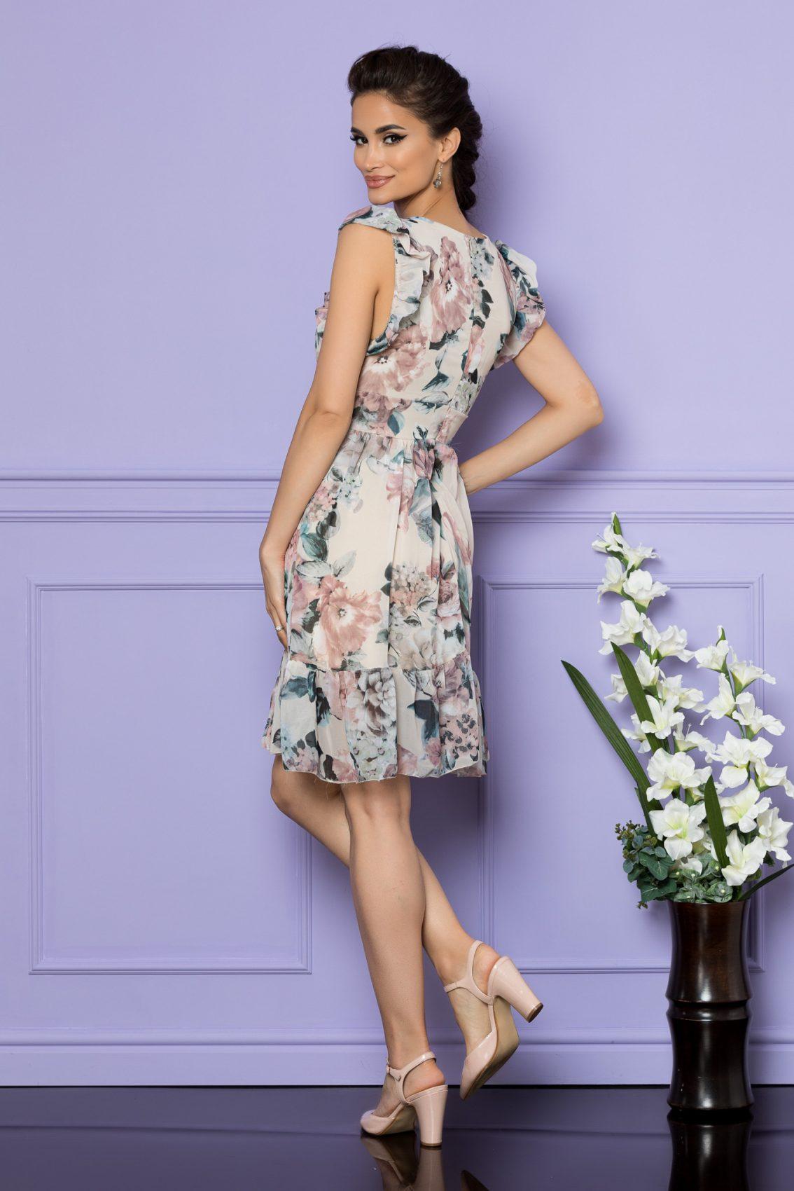 Nude Αμάνικο Φόρεμα Με Βολάν Elody A759 2