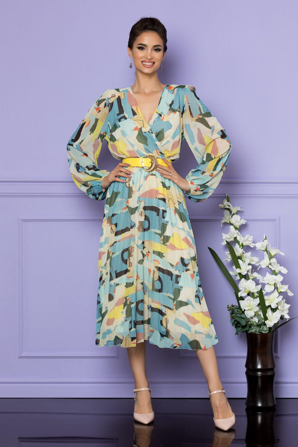 Μίντι Εμπριμέ Μπλε Κρουαζέ Φόρεμα Ingrid A745 1