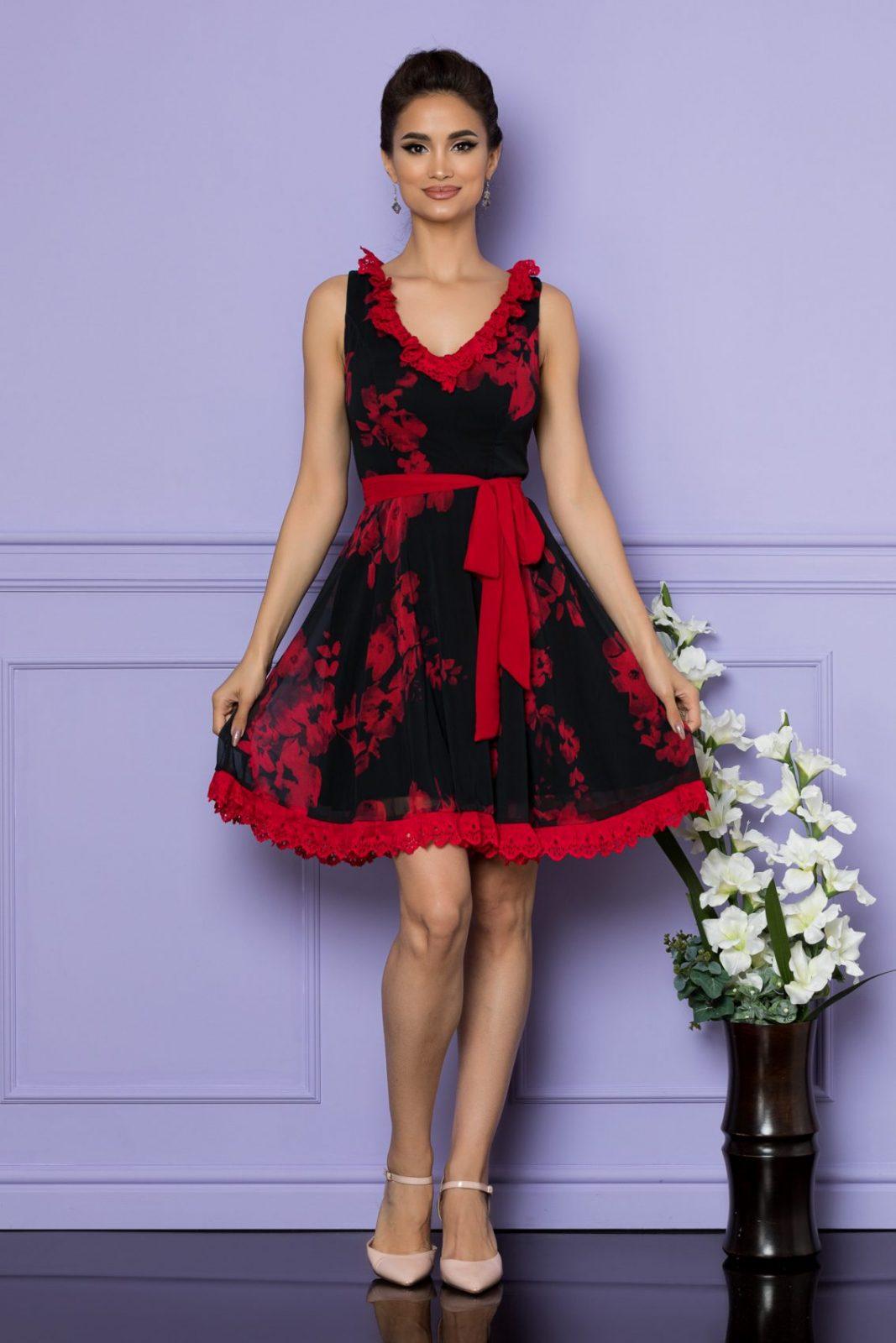 Φλοράλ Αμάνικο Φόρεμα Με Δαντέλα Denisia A706 1