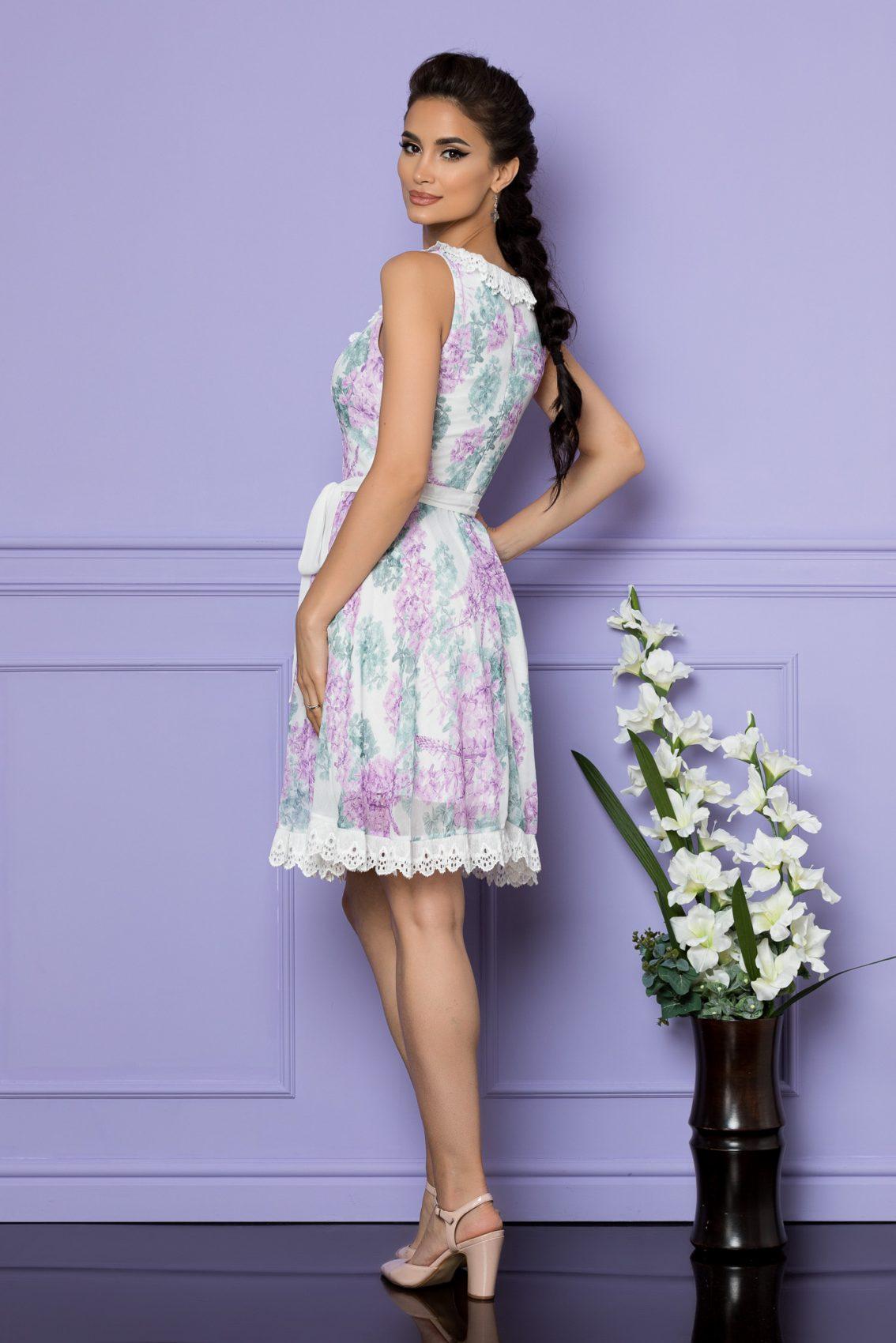Λιλά Αμάνικο Φόρεμα Με Δαντέλα Denisia A705 2
