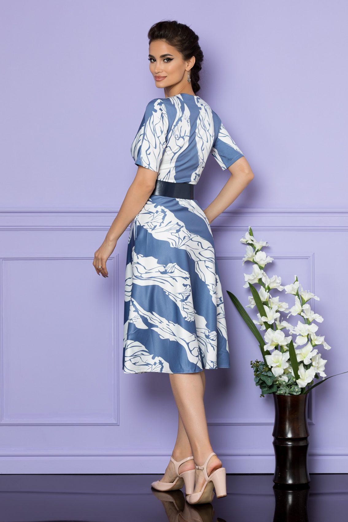 Μίντι Μπλε Κρουαζέ Φόρεμα Darlene A729 2
