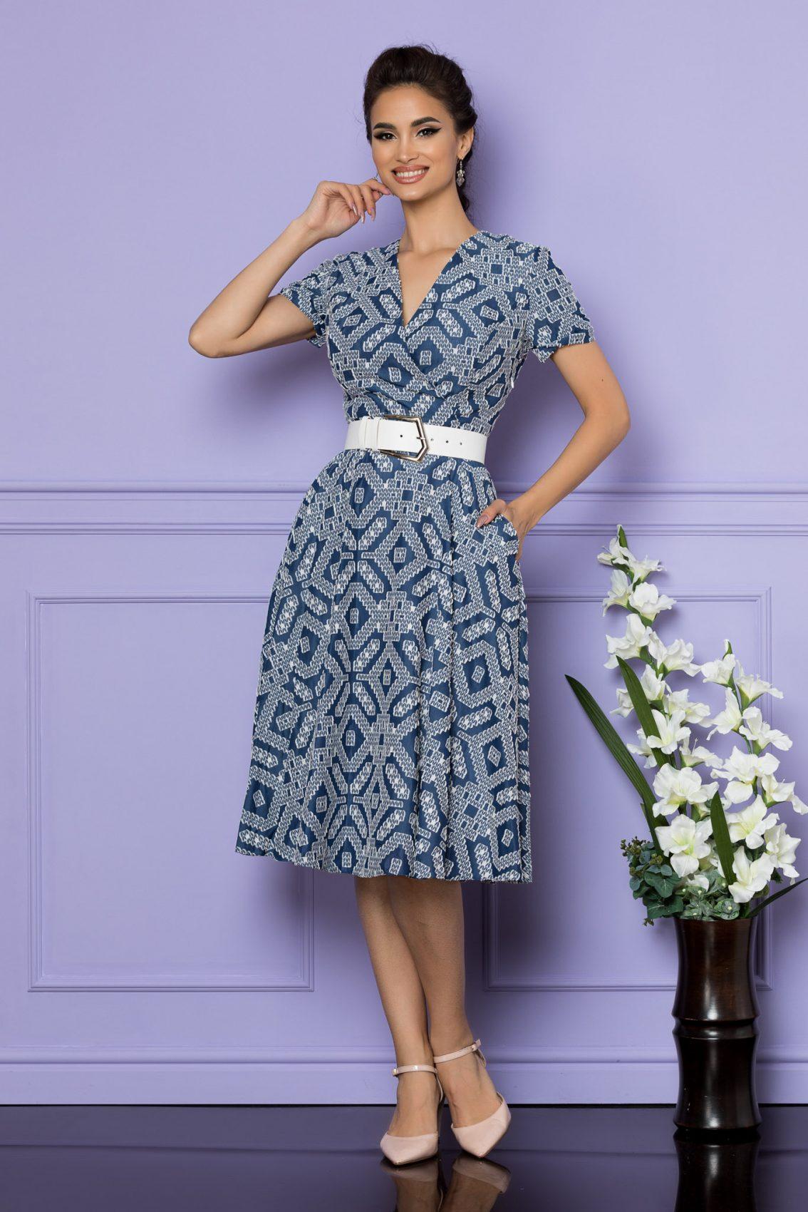 Μπλε Μίντι Κοντομάνικο Φόρεμα Patricia A694 1