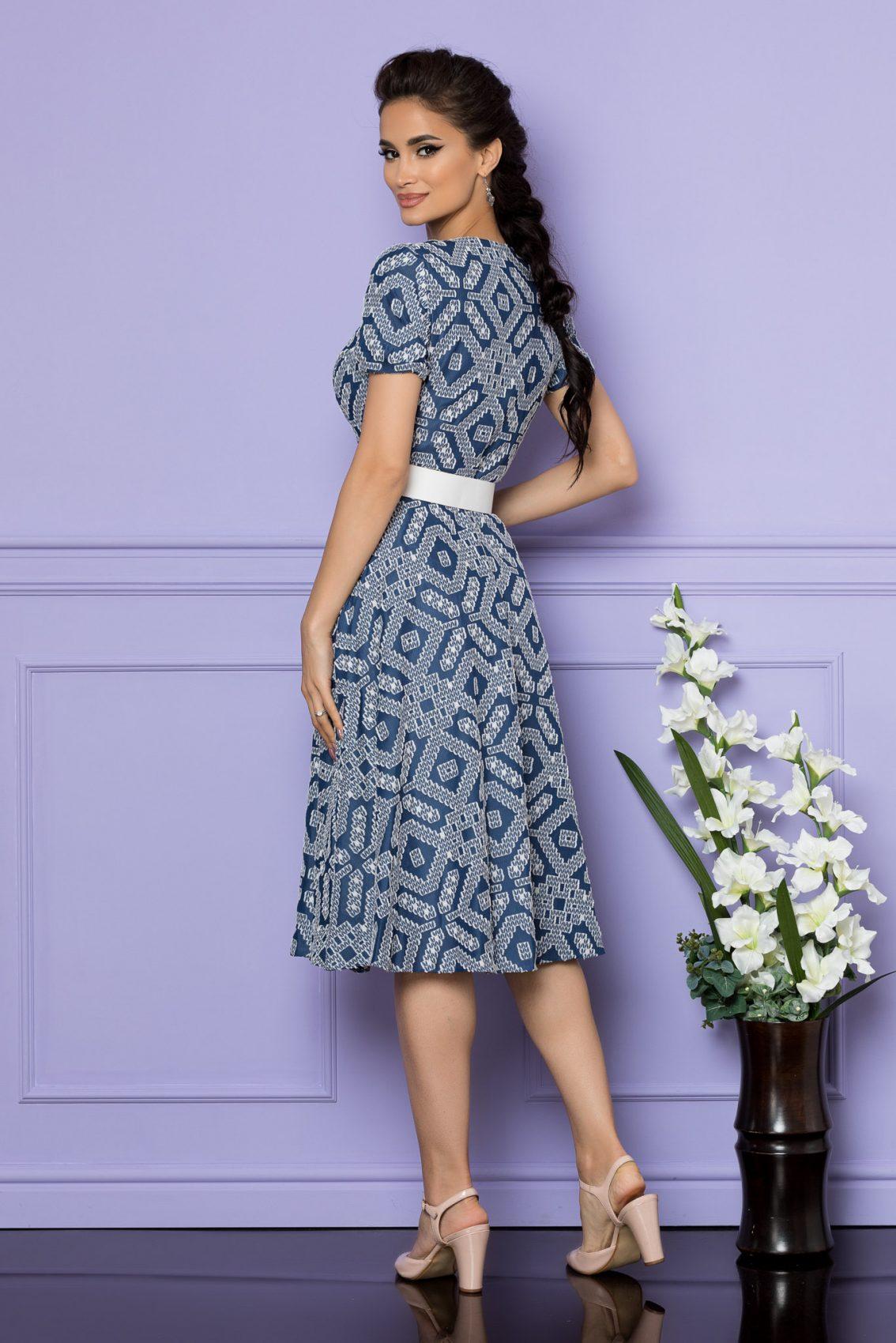 Μπλε Μίντι Κοντομάνικο Φόρεμα Patricia A694 2
