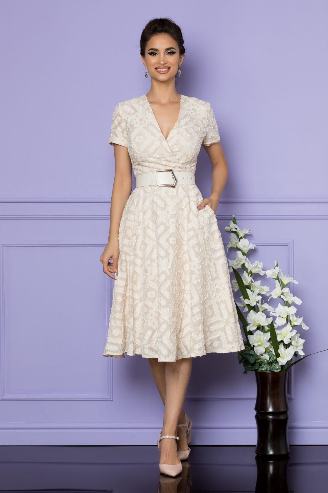 Nude Μίντι Κρουαζέ Φόρεμα Patricia A716 1