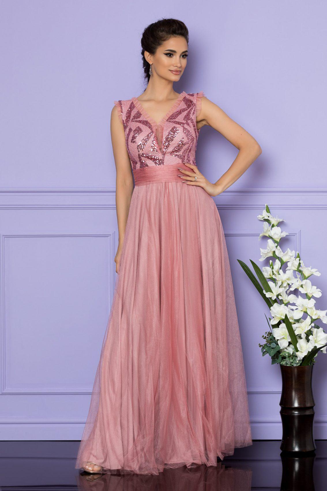 Ροζ Μάξι Αμπιγιέ Φόρεμα Secret A709 1