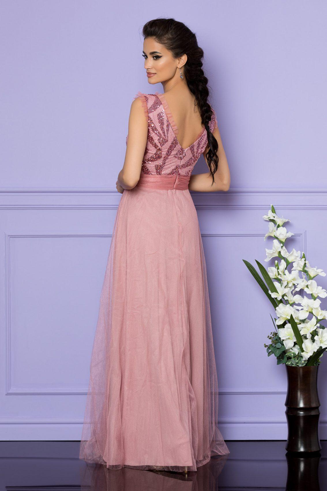 Ροζ Μάξι Αμπιγιέ Φόρεμα Secret A709 2