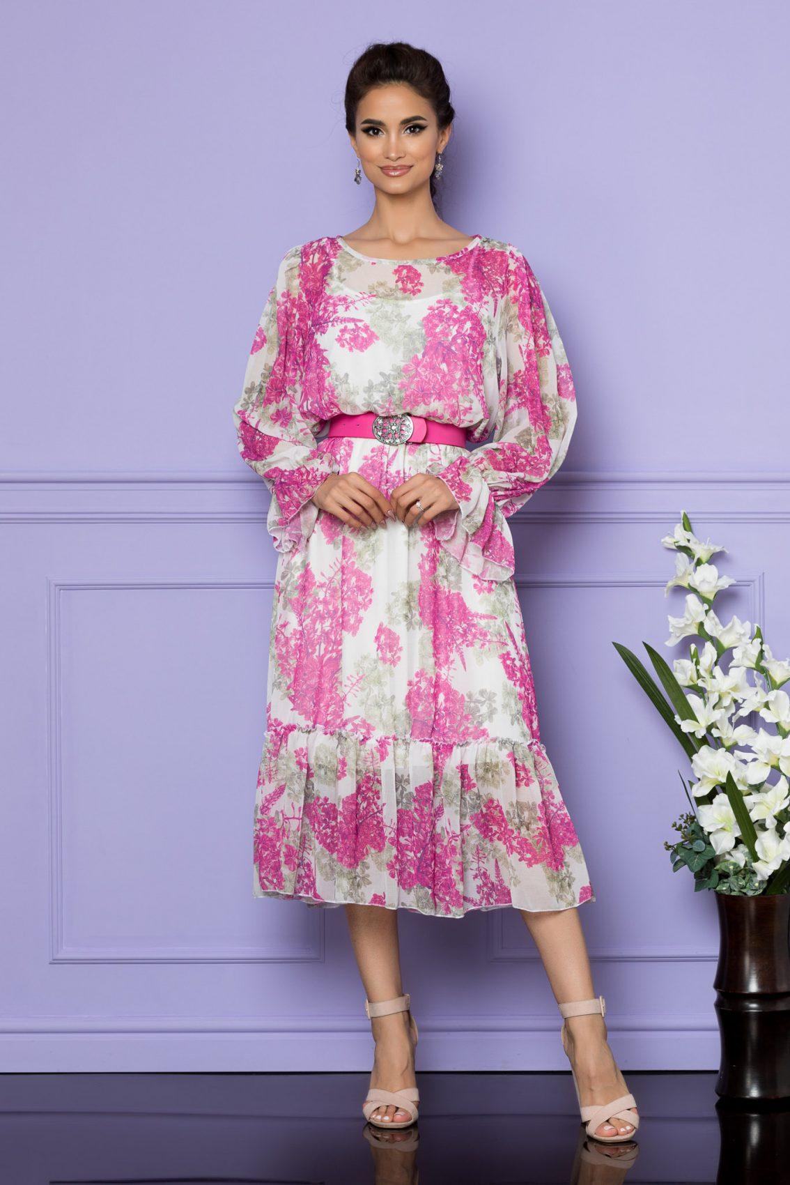 Λευκό Εμπριμέ Μίντι Φόρεμα Melanie A781 1