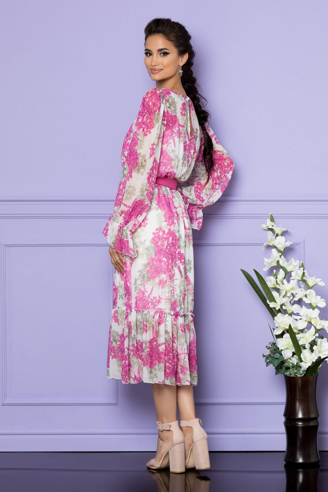 Λευκό Εμπριμέ Μίντι Φόρεμα Melanie A781 2