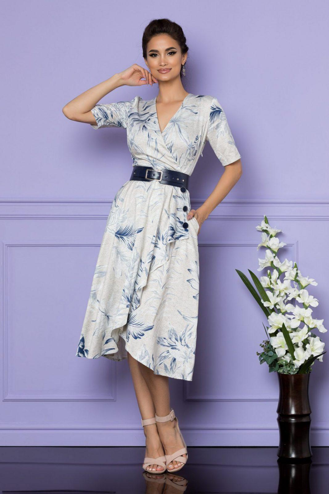 Εκρού Μίντι Κρουαζέ Φόρεμα Parissa A678 1