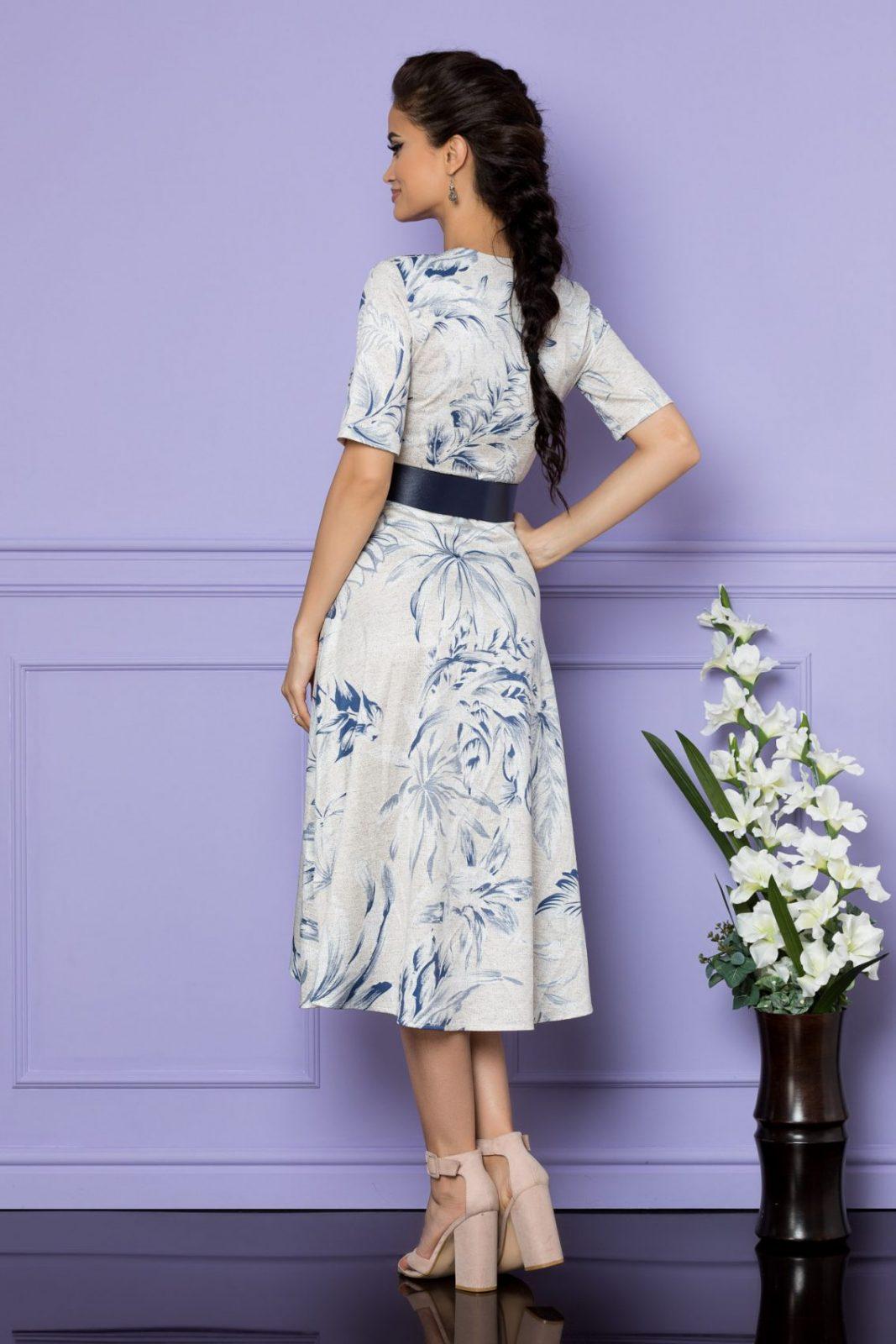 Εκρού Μίντι Κρουαζέ Φόρεμα Parissa A678 2