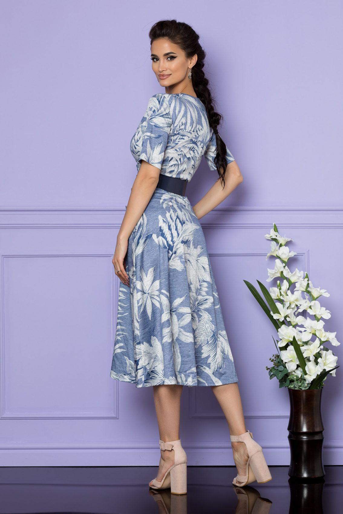 Μπλε Μίντι Κρουαζέ Φόρεμα Parissa A730 2