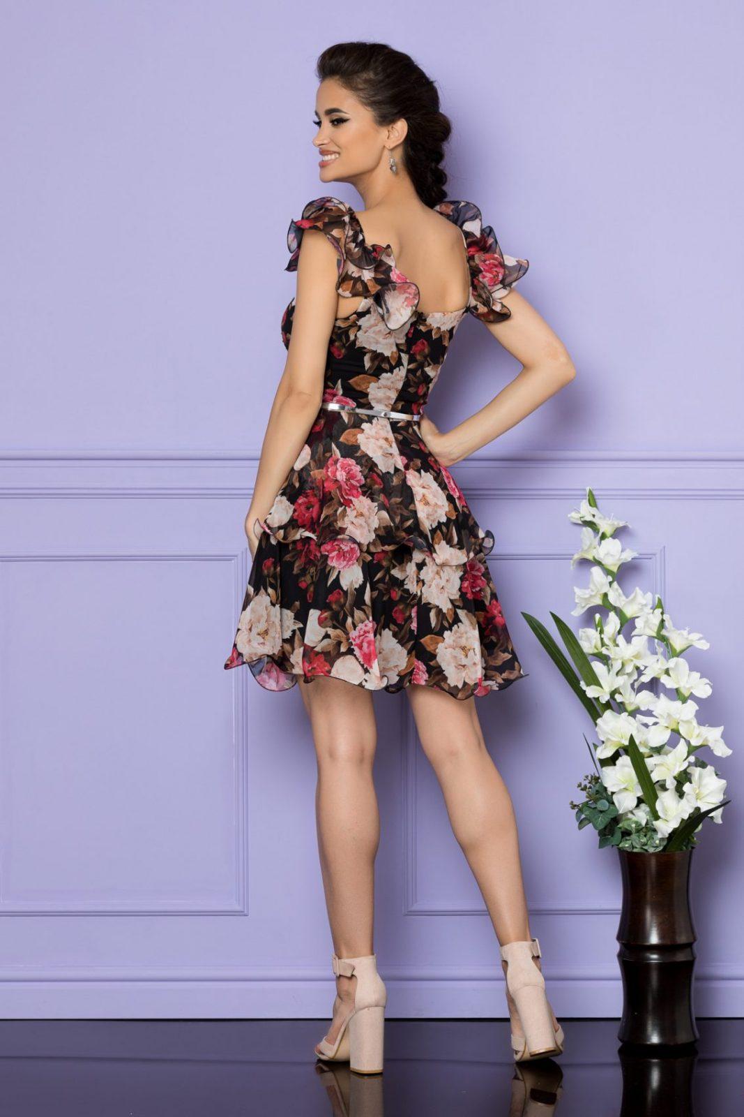 Μαύρο Φλοράλ Αμάνικο Φόρεμα Aniko A750 2