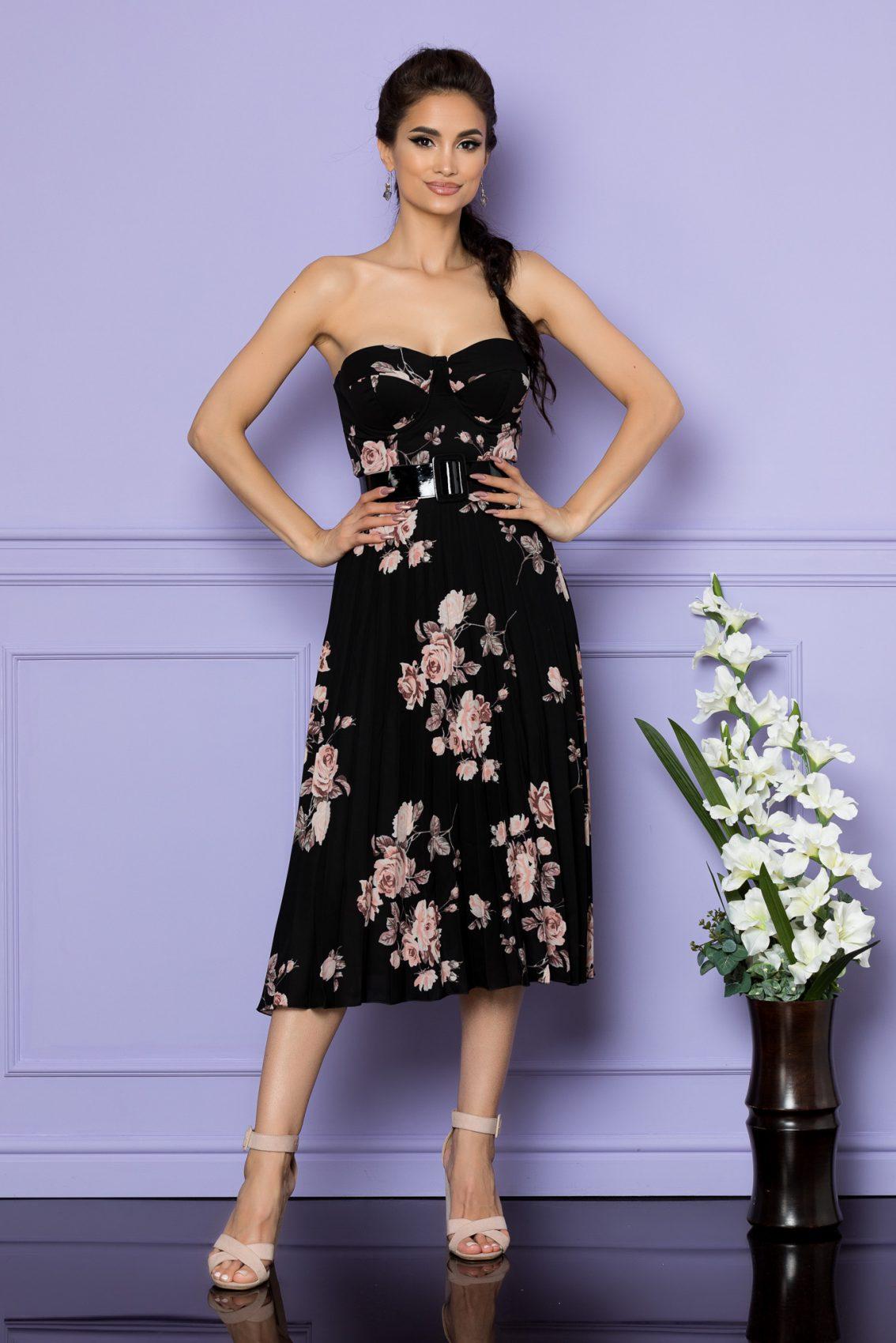 Μαύρο Φλοράλ Φόρεμα Στράπλες Με Ζώνη Serenity 7868 1