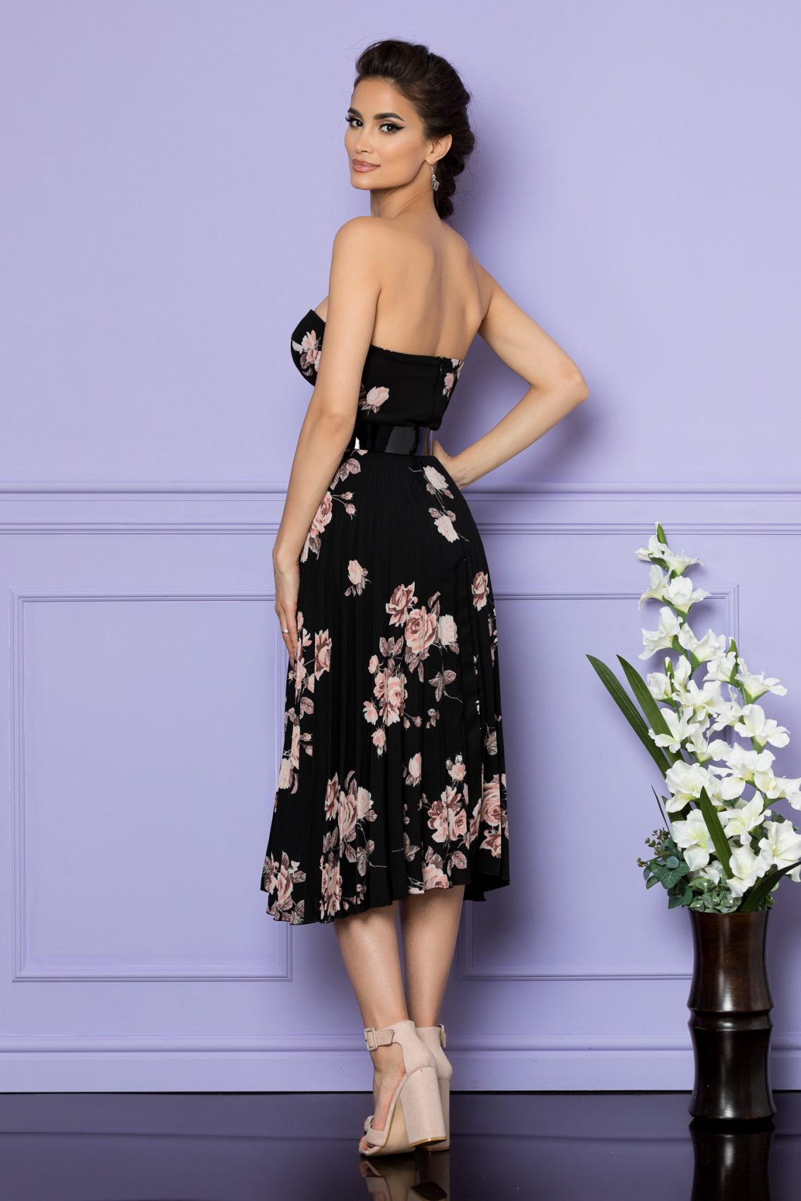 Μαύρο Φλοράλ Φόρεμα Στράπλες Με Ζώνη Serenity 7868 2
