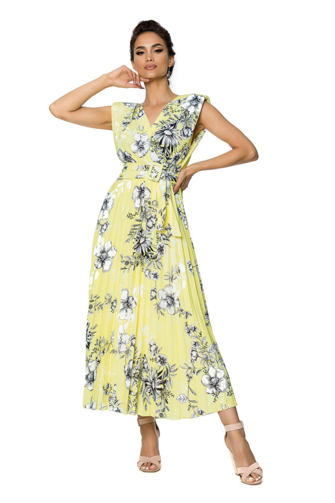 Κίτρινο Αμάνικο Μίντι Φλοράλ Φόρεμα Carmen A732 1
