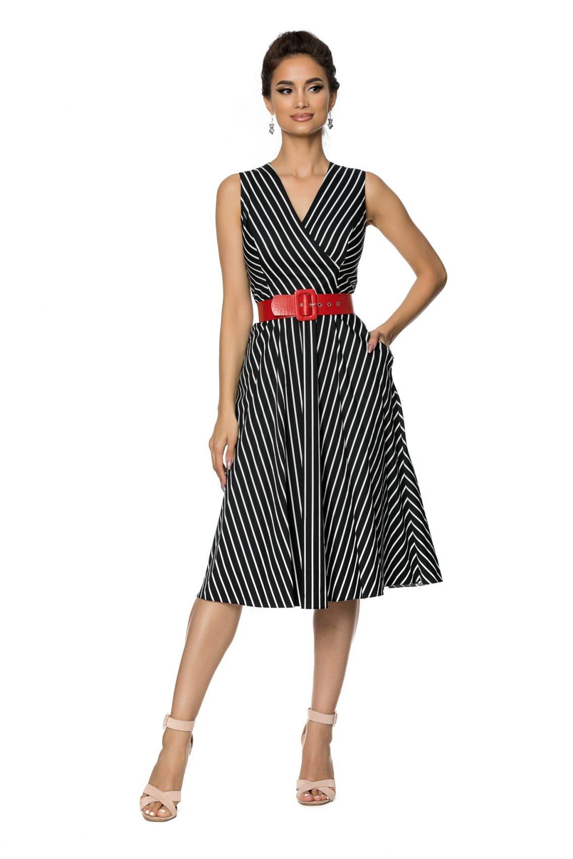 Μαύρο Αμάνικο Ριγέ Φόρεμα Eralya A721 1