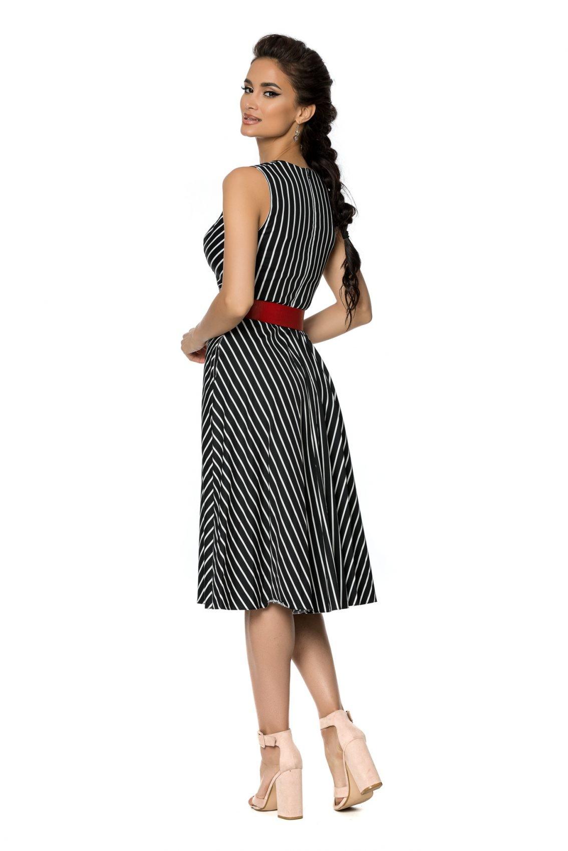 Μαύρο Αμάνικο Ριγέ Φόρεμα Eralya A721 2