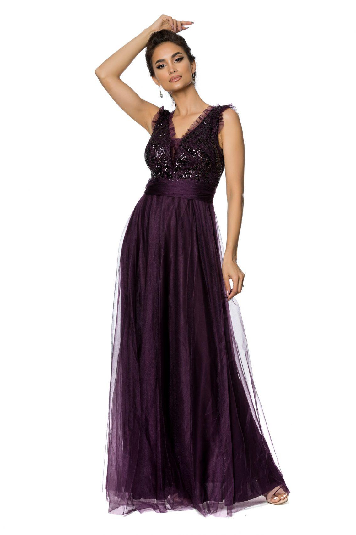 Βιολετί Μάξι Αμπιγιέ Φόρεμα Secret A727 1