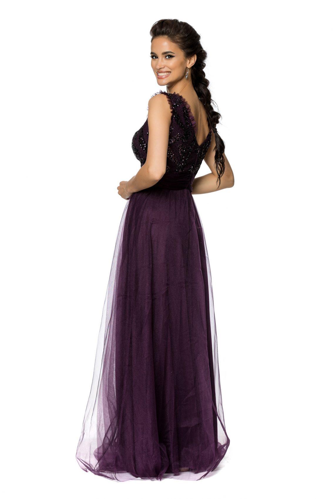 Βιολετί Μάξι Αμπιγιέ Φόρεμα Secret A727 2