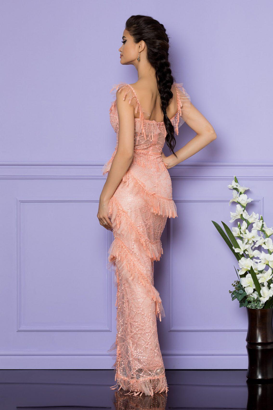 Ροδακινί Μάξι Αμπιγιέ Φόρεμα Spectacullar A786 2