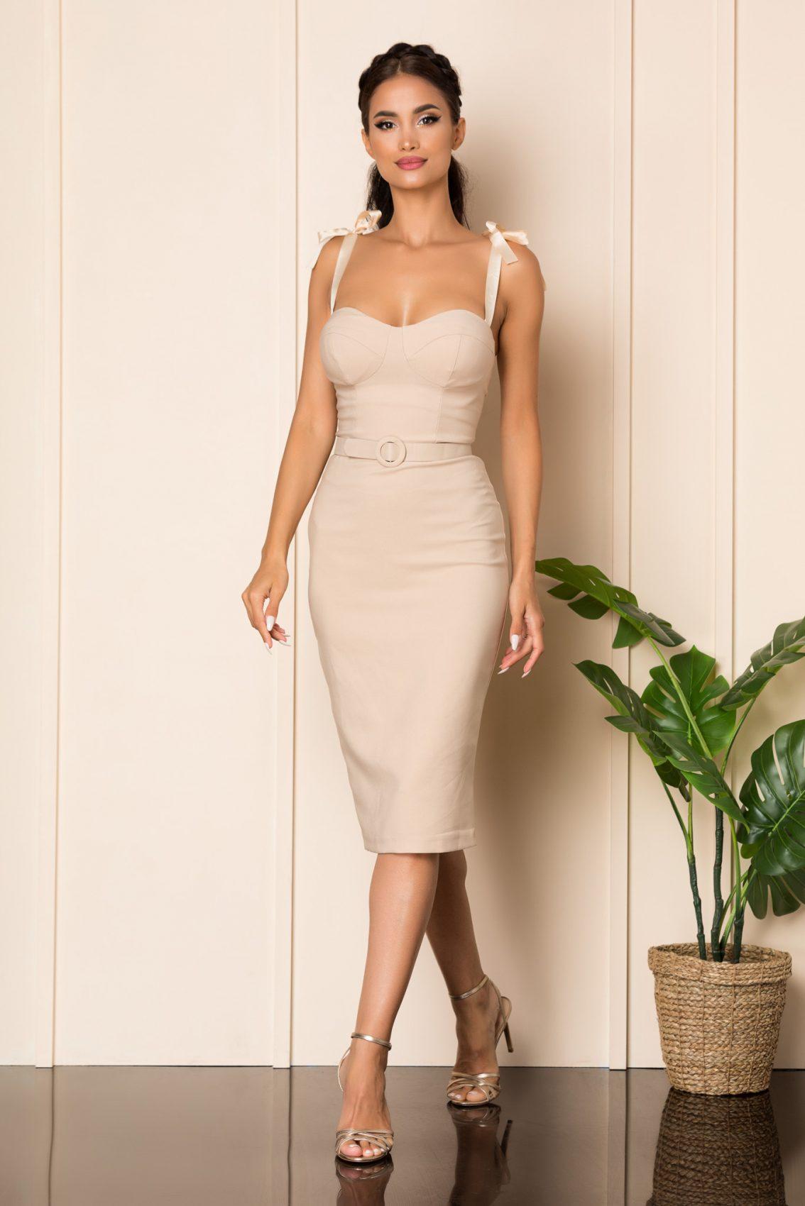 Nude Μίντι Αμπιγιέ Φόρεμα Tabita A820 1