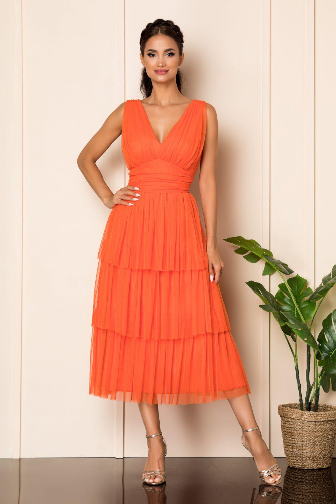 Πορτοκαλί Μίντι Αμπιγιέ Φόρεμα Dreamy A912 1