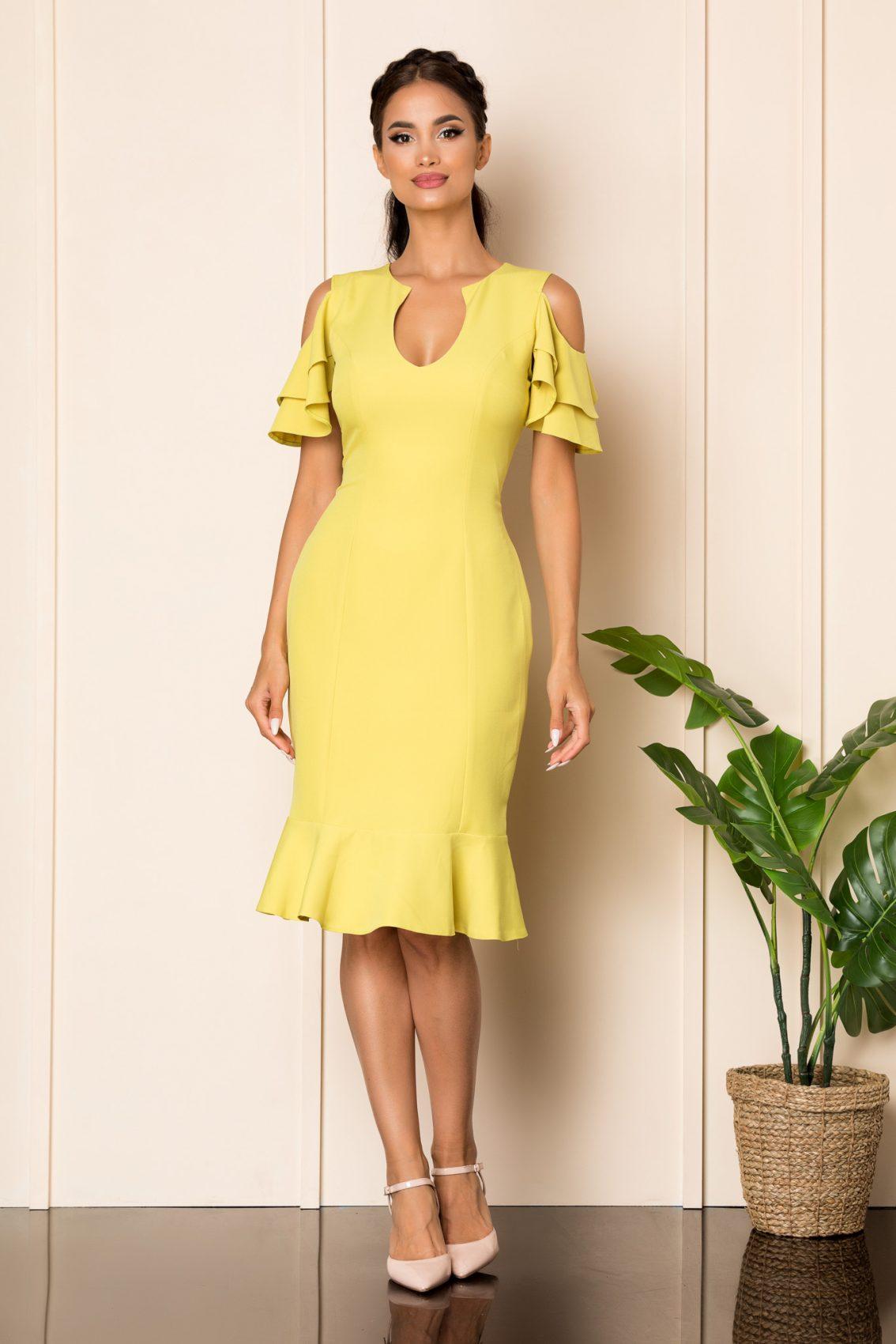 Φιστίκι Μίντι Φόρεμα Με Βολάν Felicity A917 1