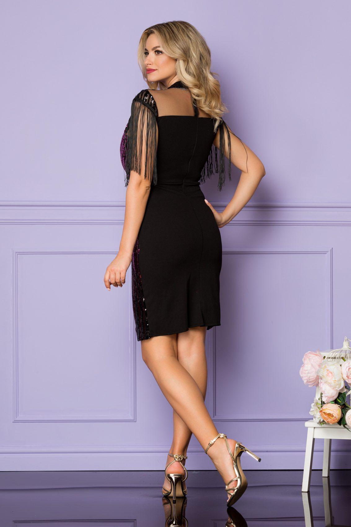 Μαύρο Μίνι Φόρεμα Με Φούξια Πούλιες Lia A1085 2