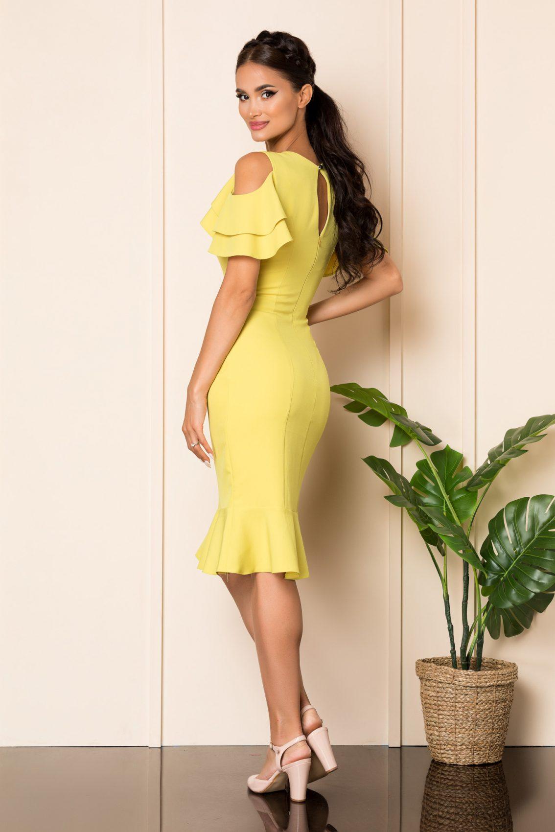 Φιστίκι Μίντι Φόρεμα Με Βολάν Felicity A917 2
