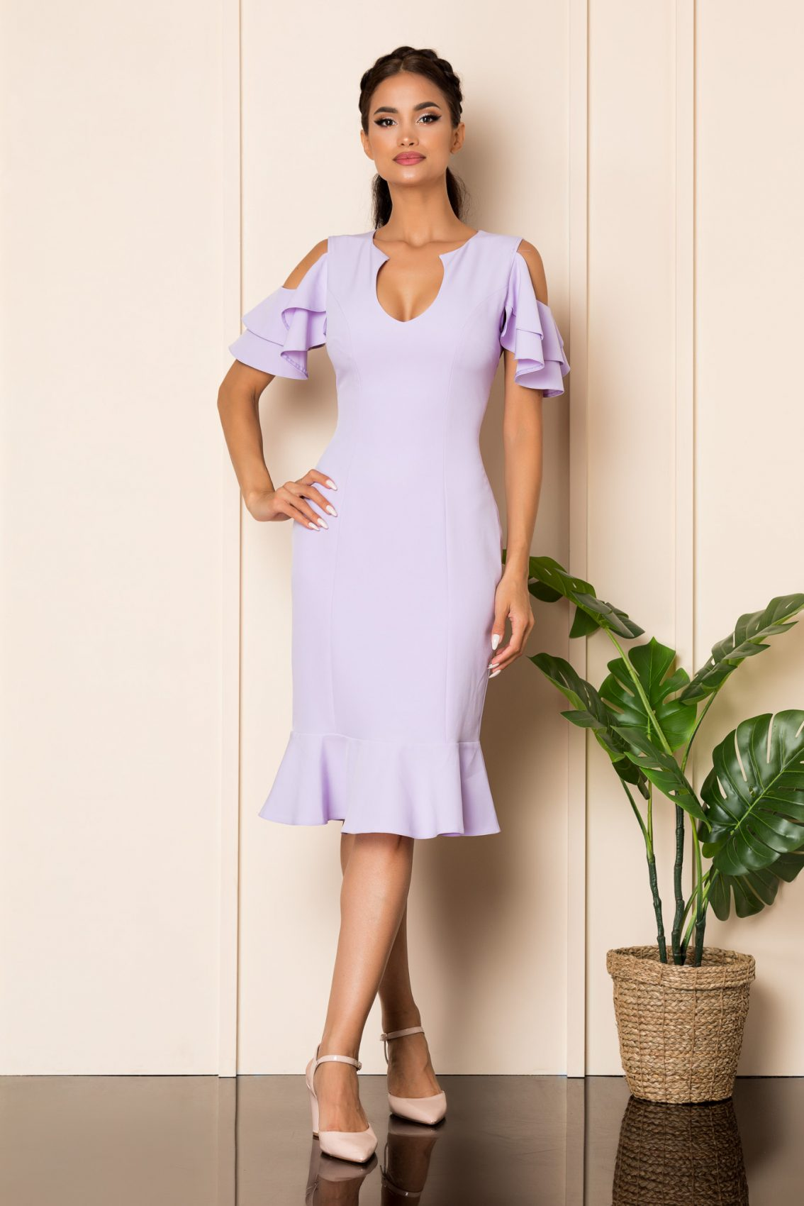 Λιλά Μίντι Φόρεμα Με Βολάν Felicity A915 1