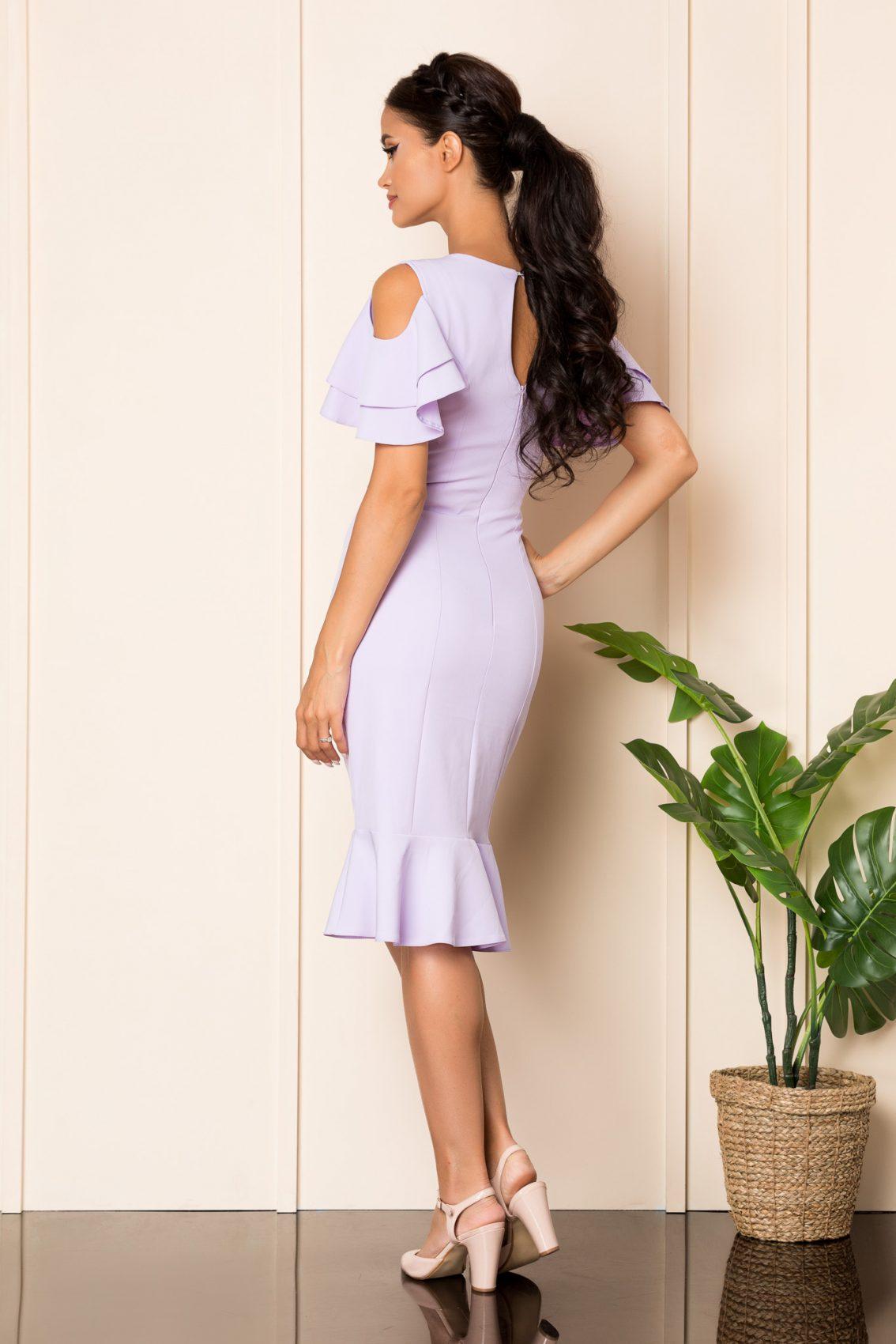 Λιλά Μίντι Φόρεμα Με Βολάν Felicity A915 2