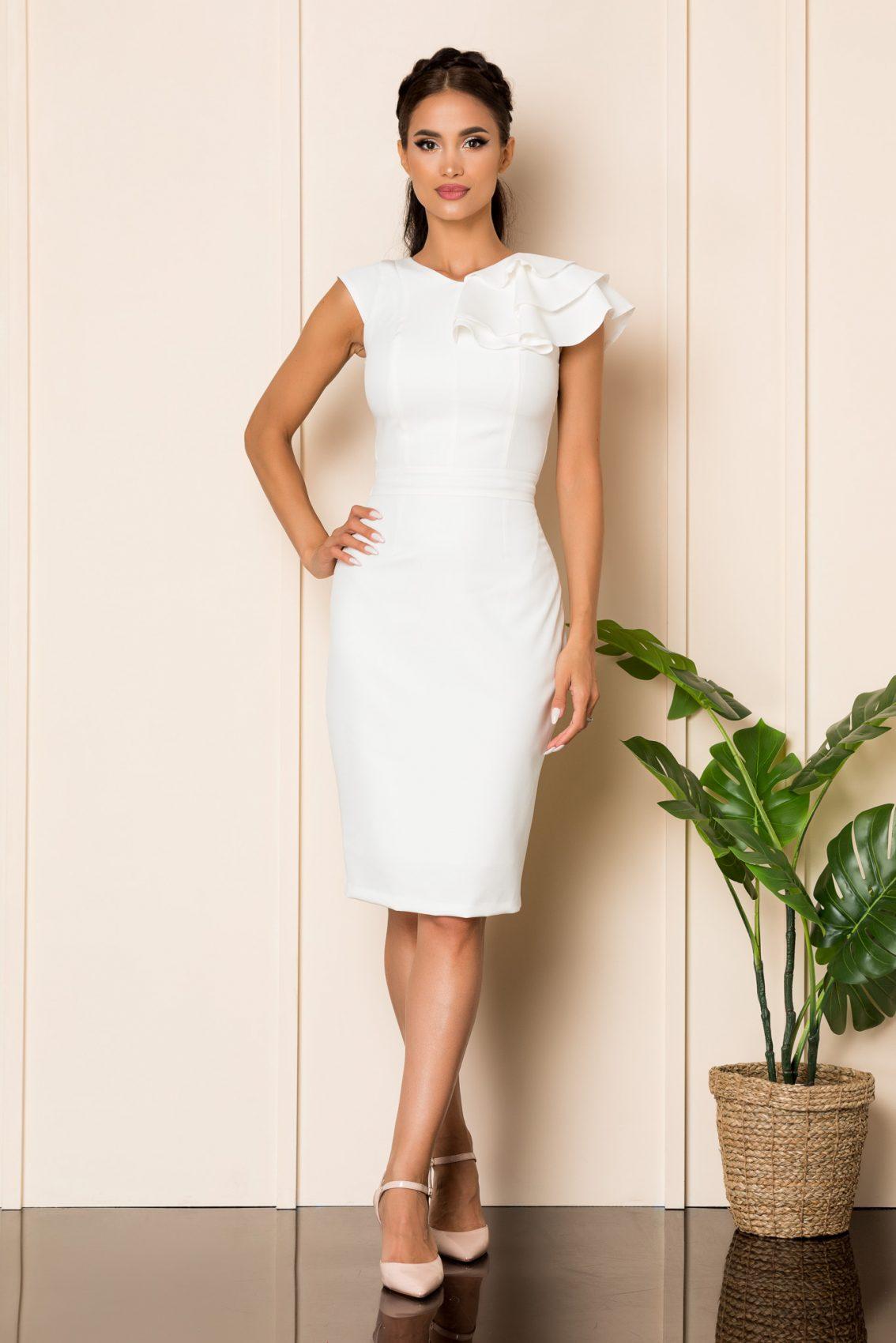 Λευκό Μίντι Αμπιγιέ Φόρεμα Phoenix A923 1