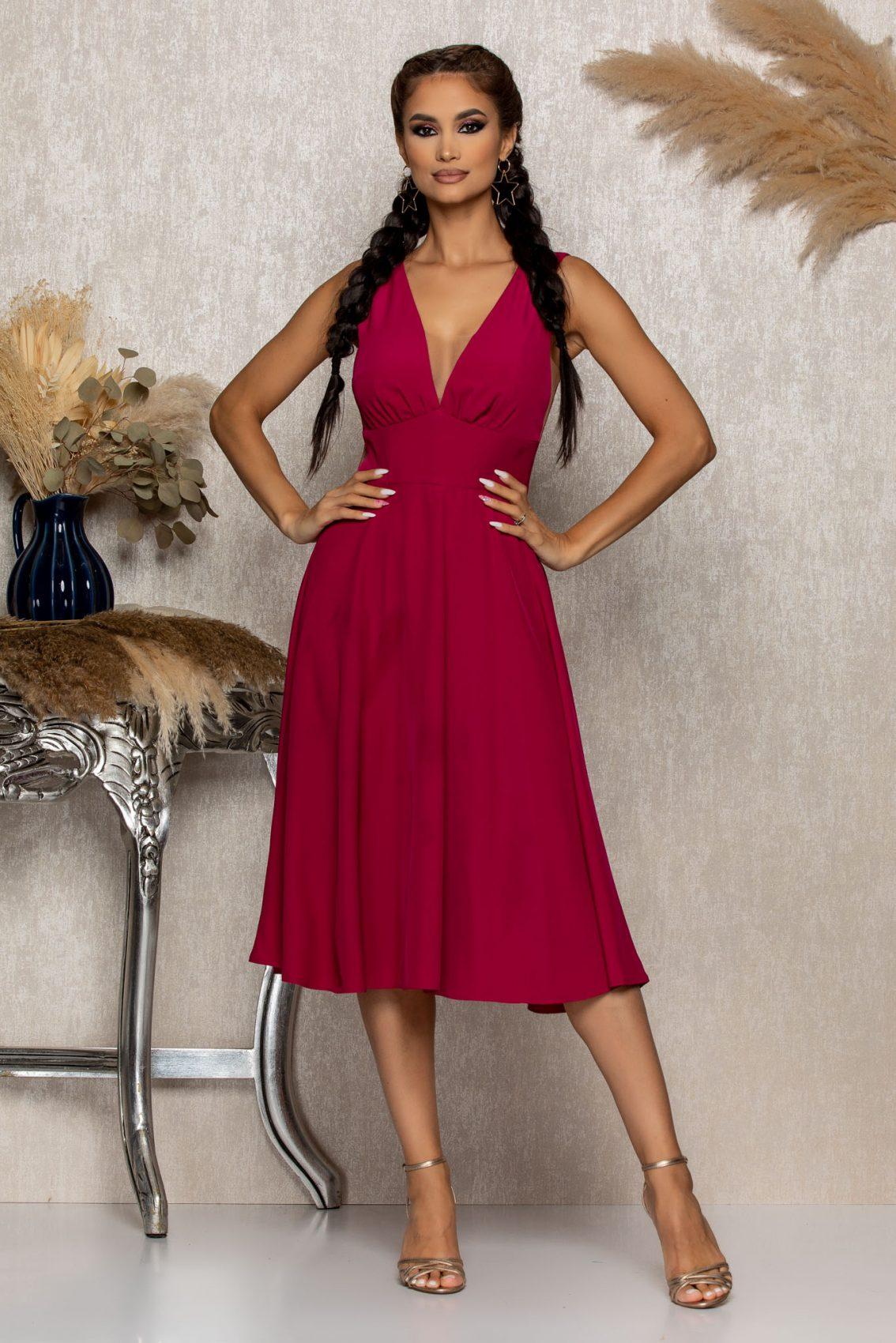 Ματζέντα Μίντι Αμπιγιέ Φόρεμα Mellya B321 1