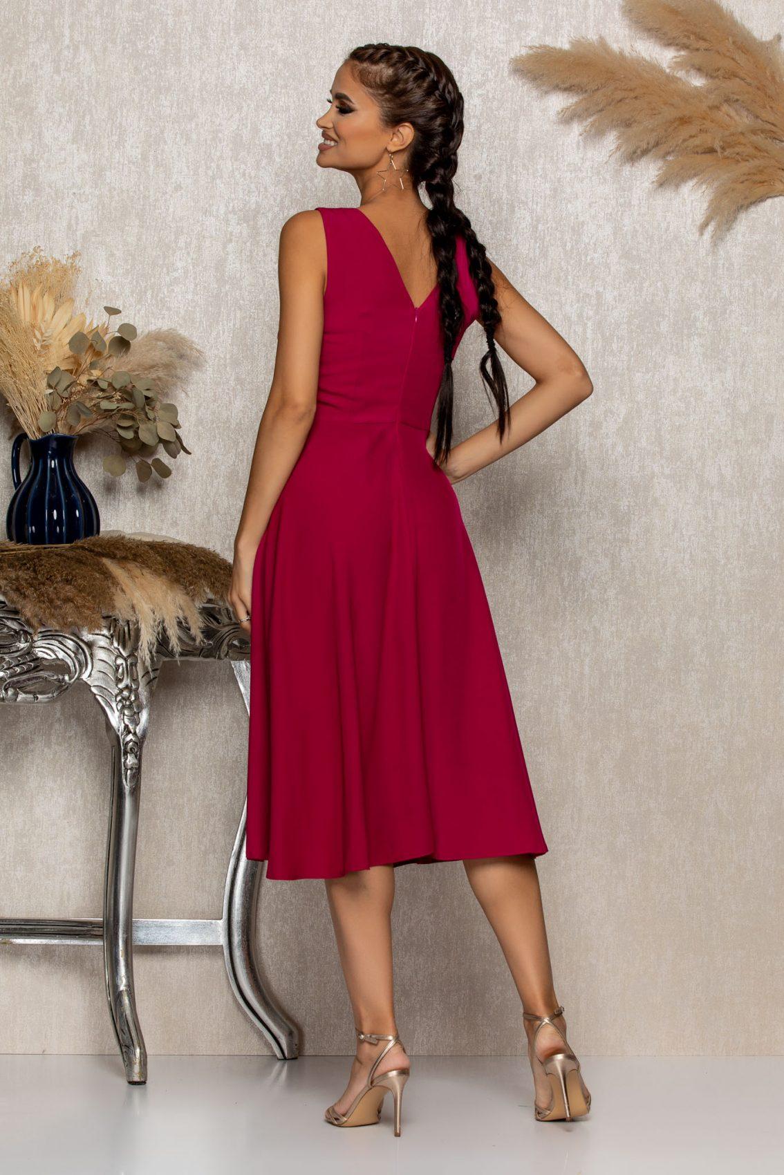 Ματζέντα Μίντι Αμπιγιέ Φόρεμα Mellya B321 2