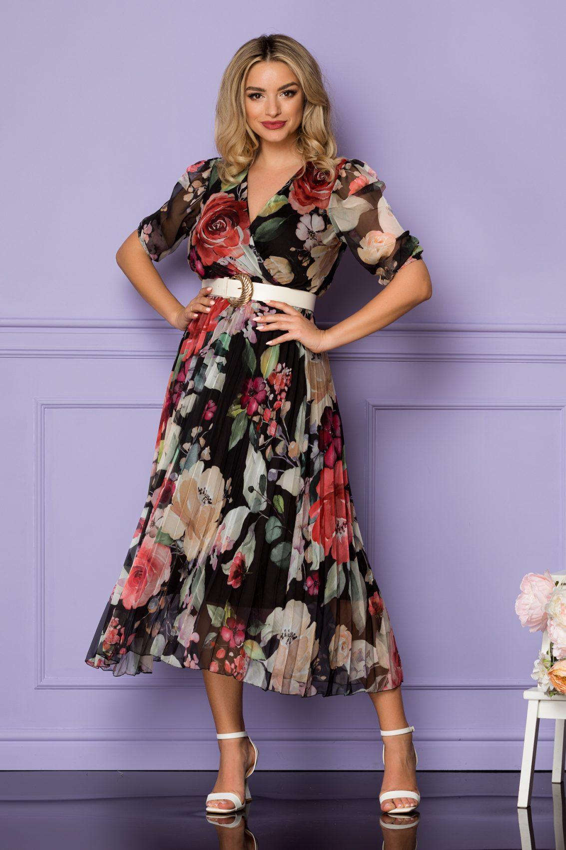 Φλοράλ Μαύρο Μίντι Φόρεμα Cryna A1057 1