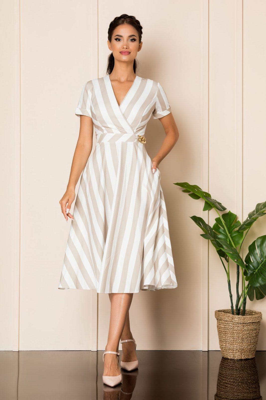 Μίντι Κρουαζέ Φόρεμα Με Μπεζ Ρίγες Medana A823 1