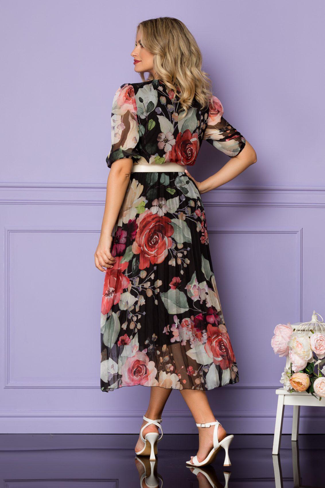 Φλοράλ Μαύρο Μίντι Φόρεμα Cryna A1057 2